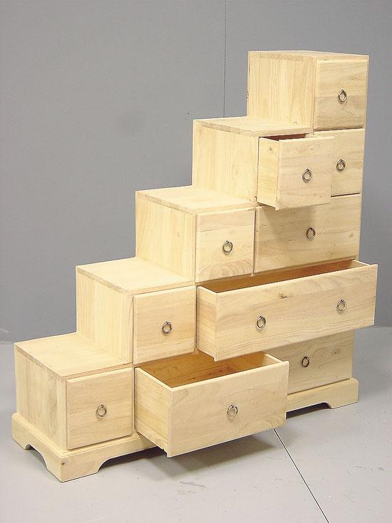 escalier meuble en bois d 39 h v a 10 tiroirs personnaliser. Black Bedroom Furniture Sets. Home Design Ideas