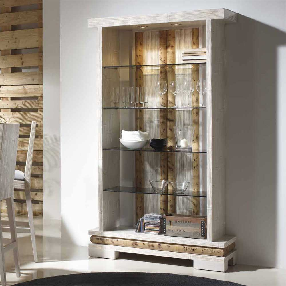 vitrine bambou 4 plateaux avec clairage boraka 1294. Black Bedroom Furniture Sets. Home Design Ideas