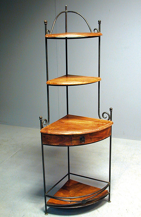 Etag re fer forg et palissandre angle 5154 - Petit meuble de coin ...