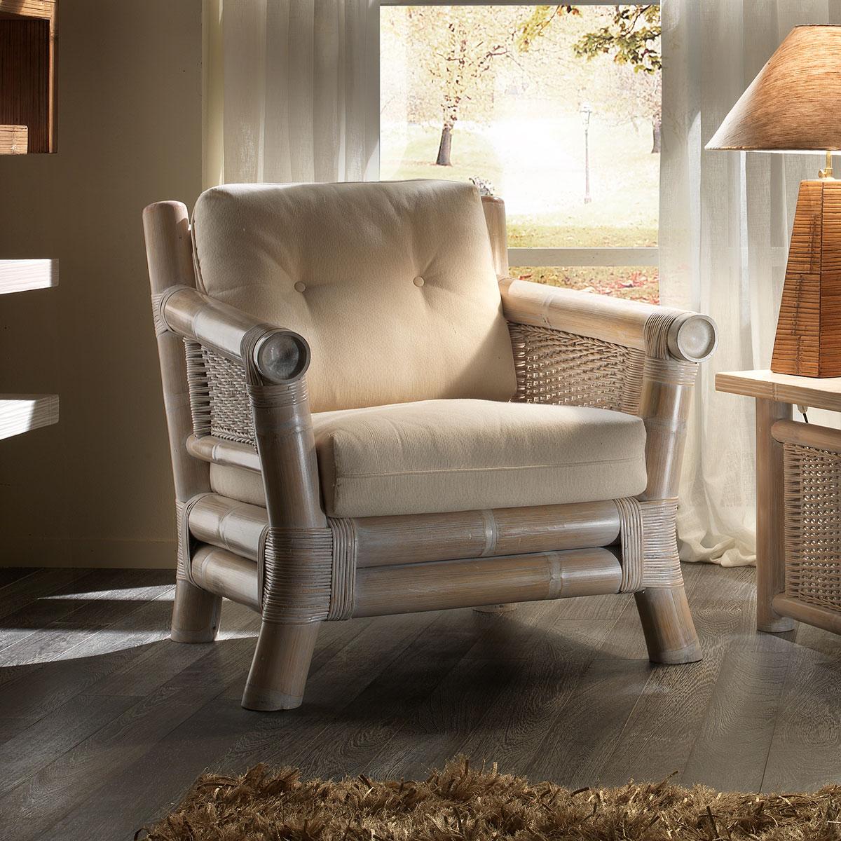 fauteuil bambou crus image 1 - Fauteuil Bambou