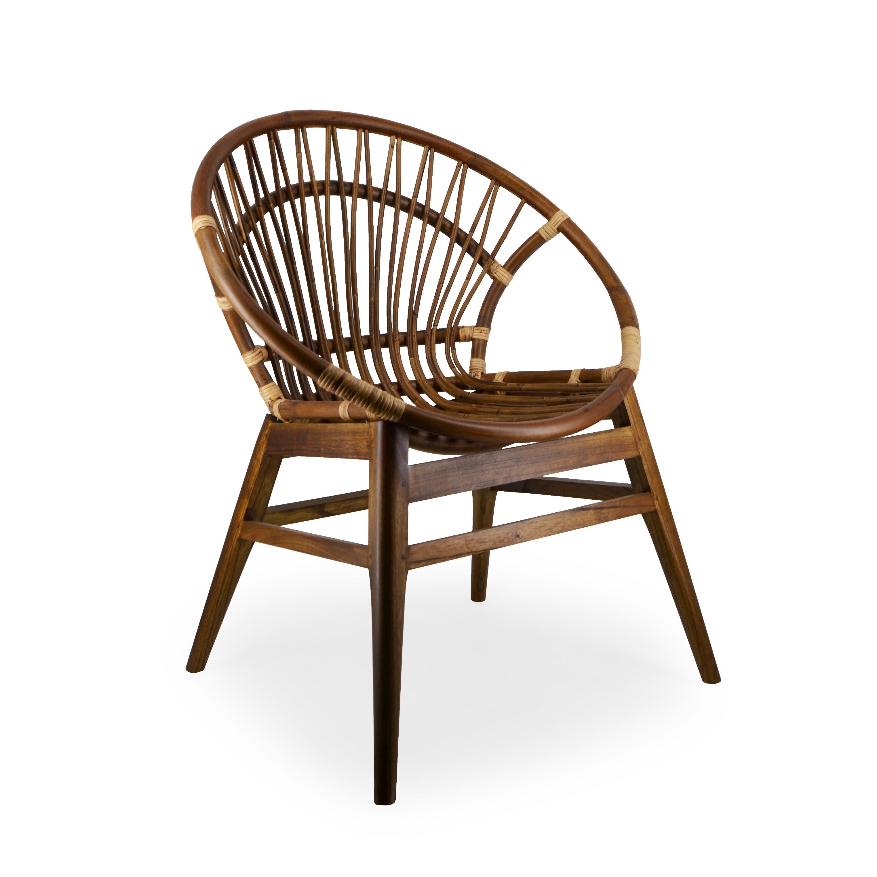Fauteuil Vintage En Mindi Bambou Et Canne De Rotin Modèle Oval - Fauteuil bambou