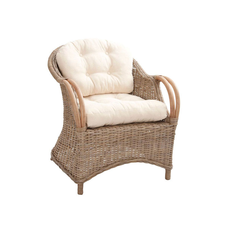 fauteuil relaxation rotin cina poelet teint gris avec coussins. Black Bedroom Furniture Sets. Home Design Ideas