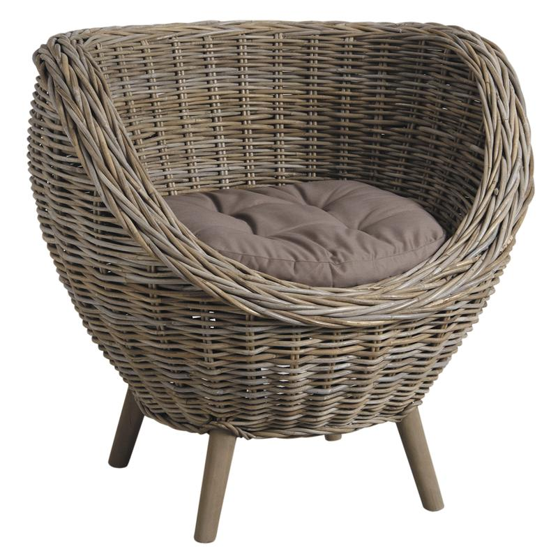 Fauteuil oeuf rotin poelet #6243