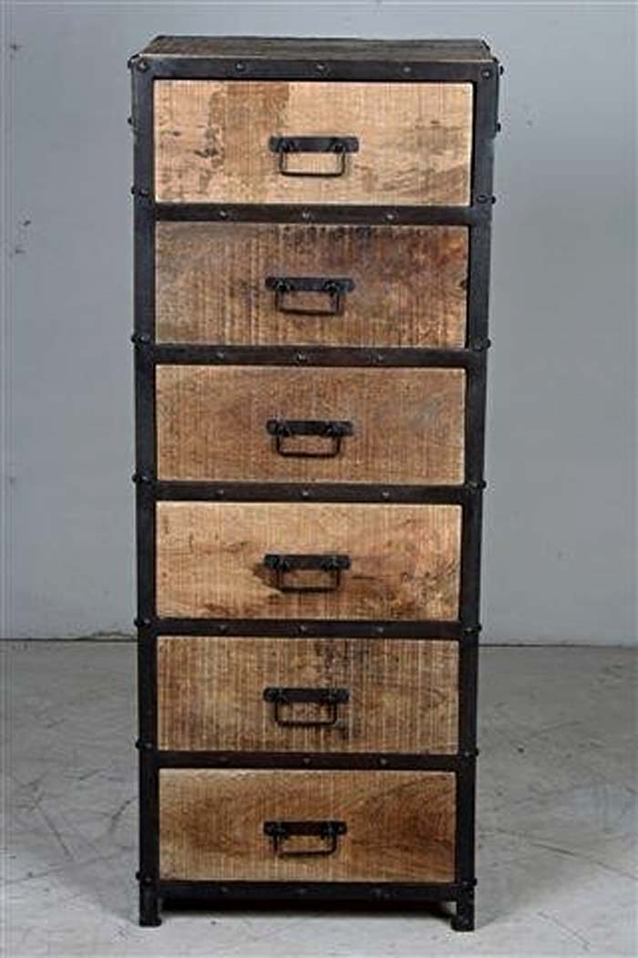 chiffonnier bois m tal industriel sasque 4873. Black Bedroom Furniture Sets. Home Design Ideas