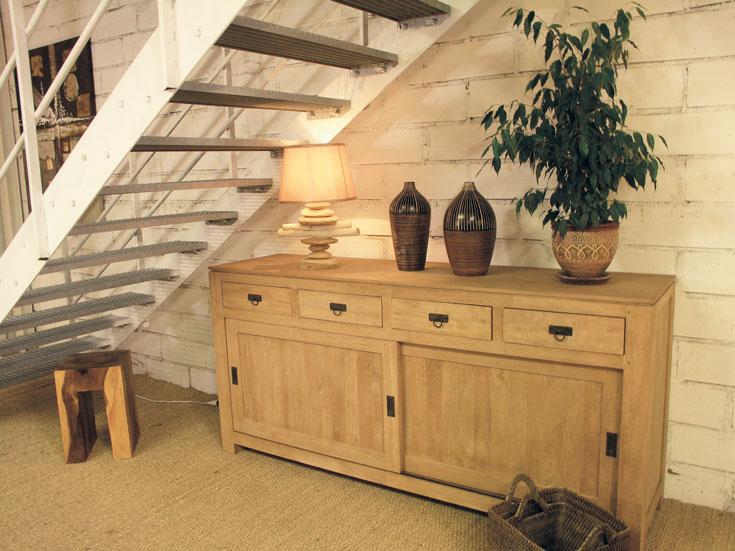 Enfilade en bois avec portes coulissantes personnalisable - Meuble buffet bois ...