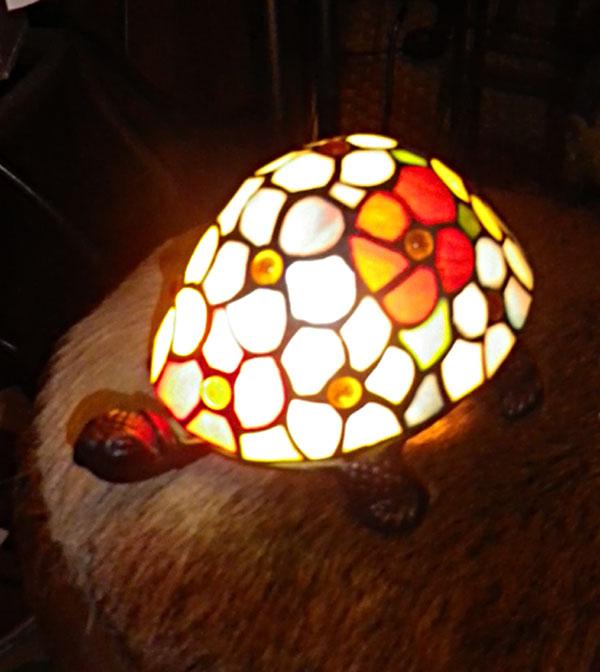 Lampe tortue multicolore avec perles incrust es style tiffany 5147 - Lampe chauffante tortue ...