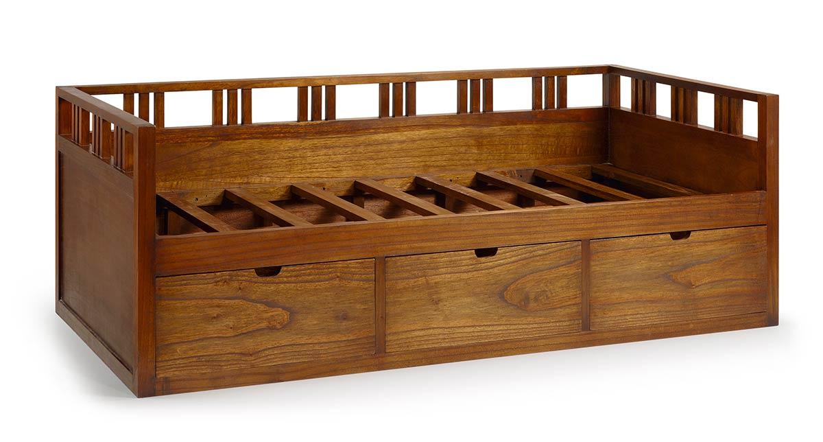 Lit 1 personne en bois de mindy 3 tiroirs de rangement sous le lit collecti - Lit tiroir 1 personne ...