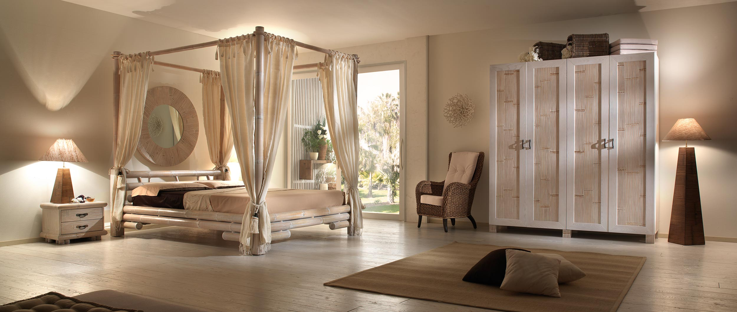 lit baldaquin contemporain en bambou finition au choix. Black Bedroom Furniture Sets. Home Design Ideas