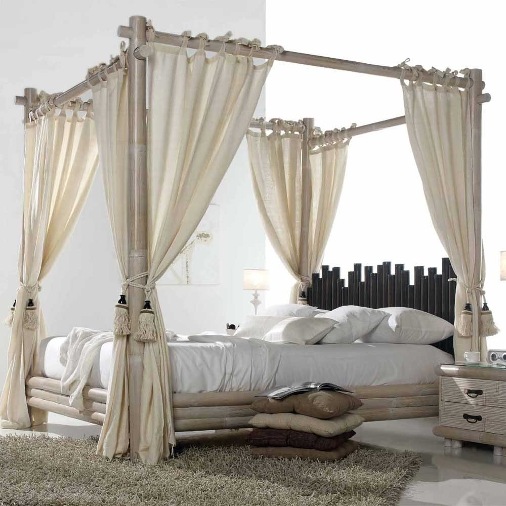 le lit baldaquin bambou pour des nuits sous le signe de la volupt. Black Bedroom Furniture Sets. Home Design Ideas