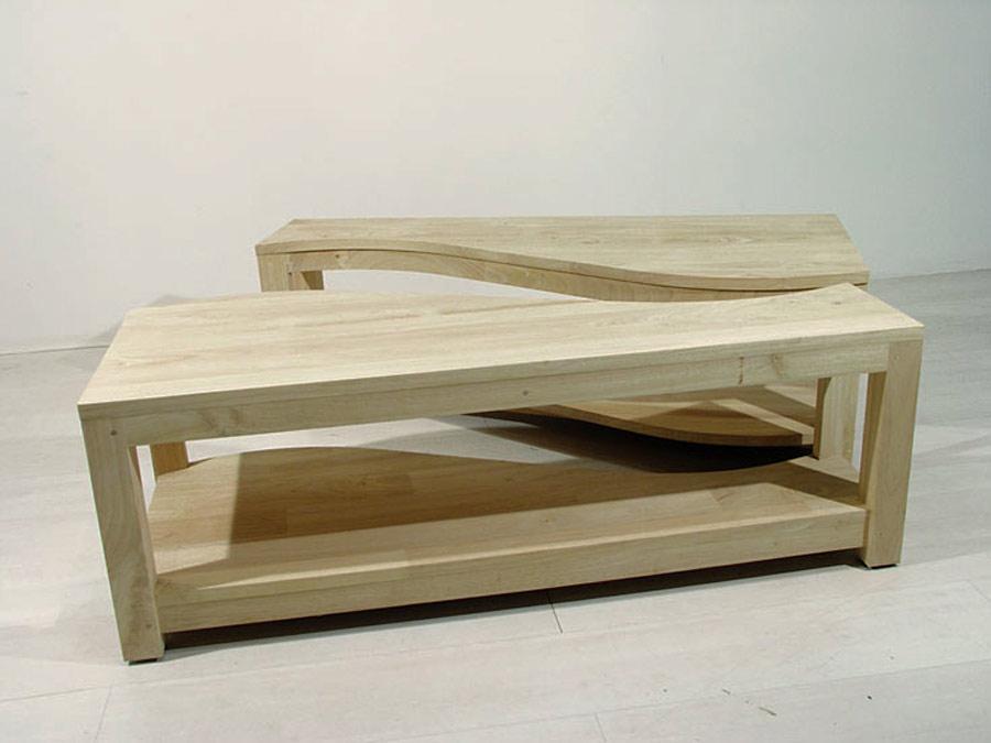 Table basse rectangle 2 éléments en bois massif Yin-Yang - Image 2