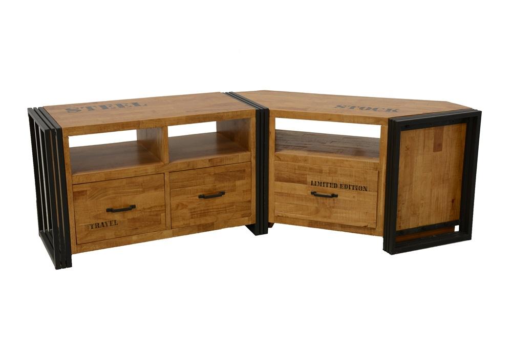 meuble t l en bois d 39 h v a naturel et m tal 1 tiroirs 115 40 55 cm indus. Black Bedroom Furniture Sets. Home Design Ideas