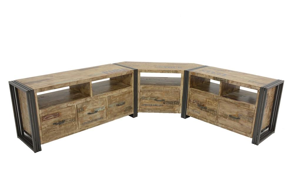 meuble tv d 39 angle en bois et m tal patin la main 115 40 50 cm indus. Black Bedroom Furniture Sets. Home Design Ideas