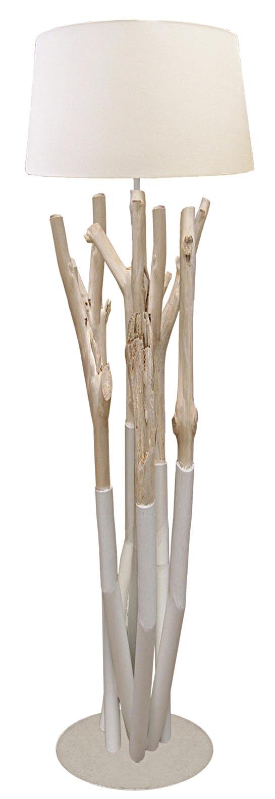 Lampadaire En Bois Flotte Blanc Driftwood 6092