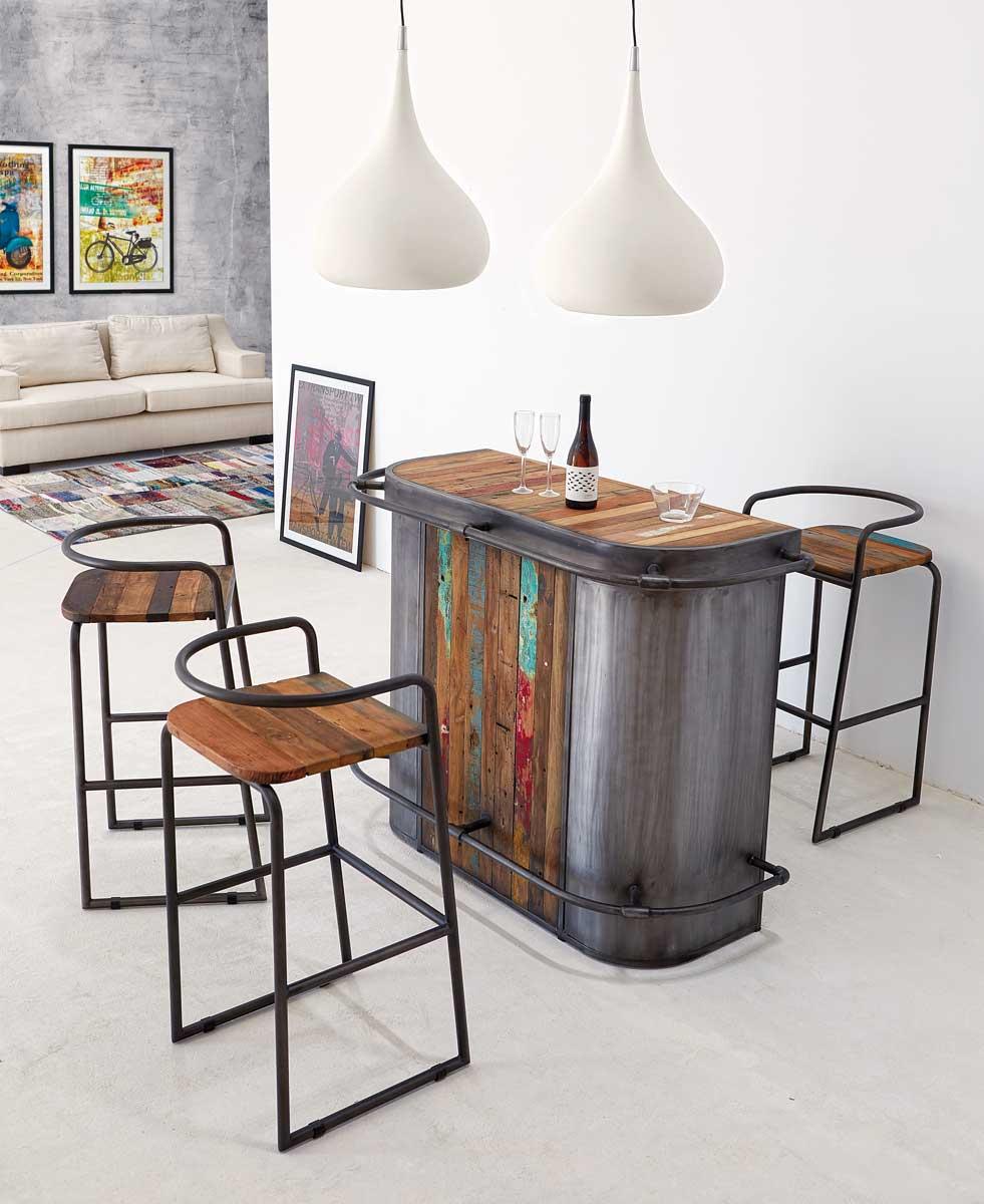 tabouret bar en m tal et teck recycl manhattan 6192. Black Bedroom Furniture Sets. Home Design Ideas