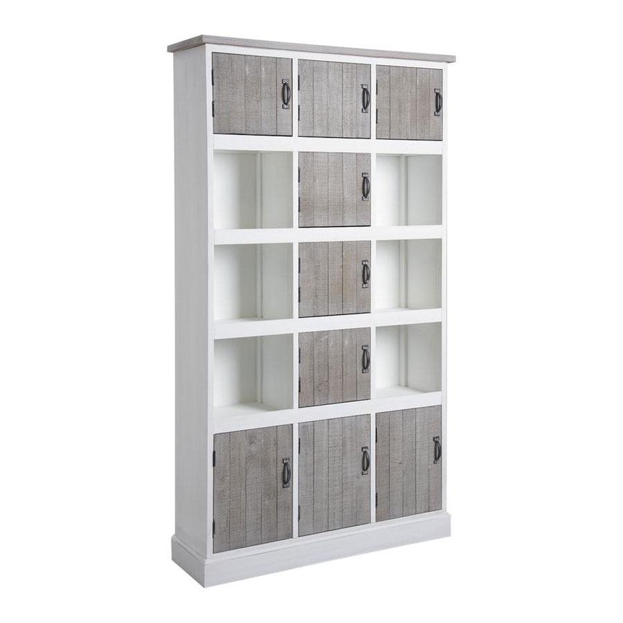 Biblioth?que Bois Blanc : Biblioth?que multi-rangement en bois blanc et gris – Image 1