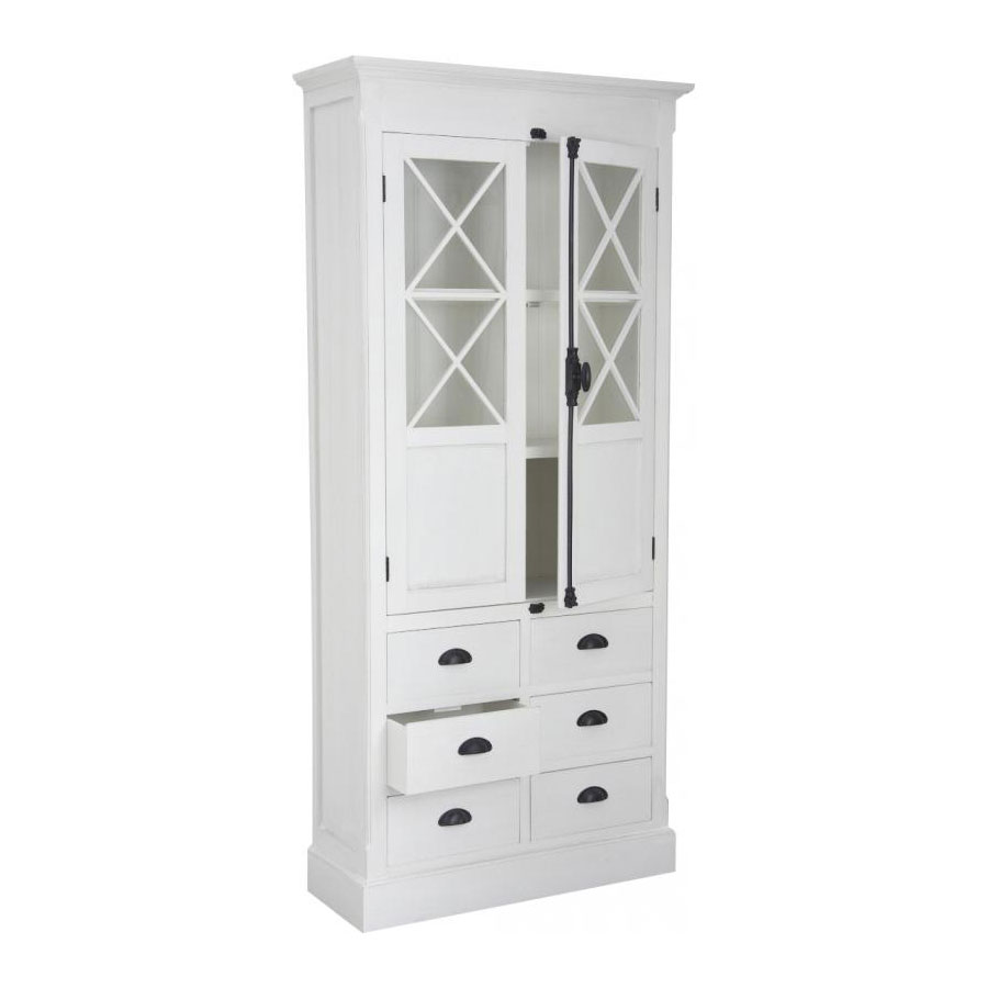 meuble de rangement en bois blanc 3 tages 6 tiroirs 5642. Black Bedroom Furniture Sets. Home Design Ideas