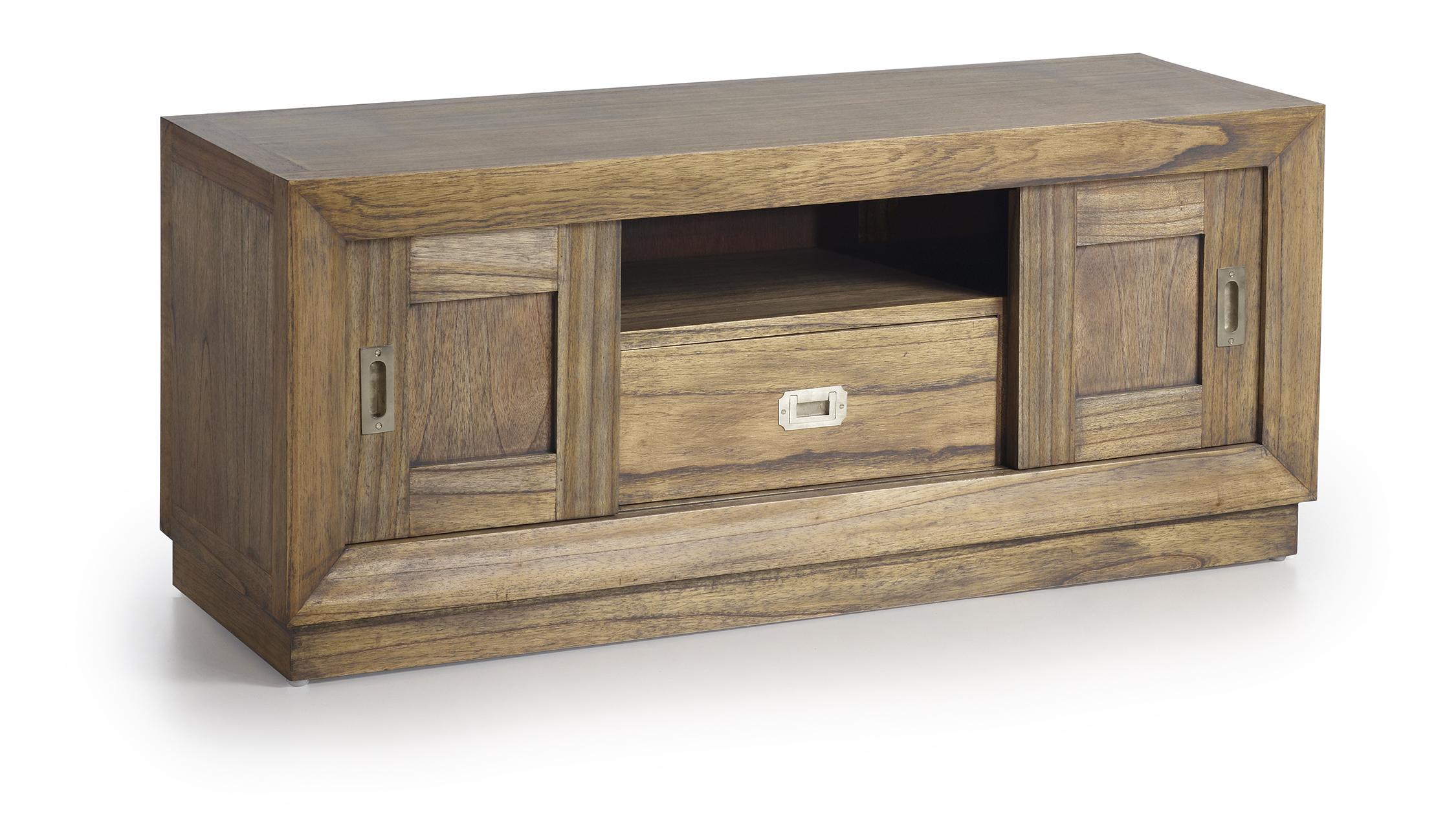 Meuble t l en bois de mindy 2 portes coulissantes 1 for Meuble tele en bois