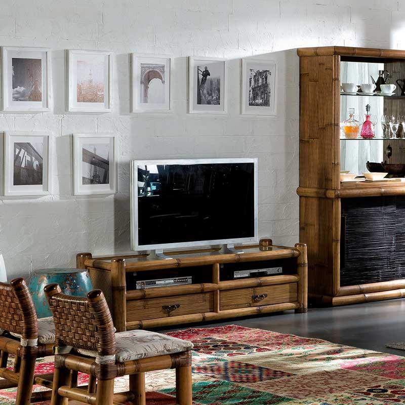 meuble tv vid o en bambou naturel patin 6383. Black Bedroom Furniture Sets. Home Design Ideas
