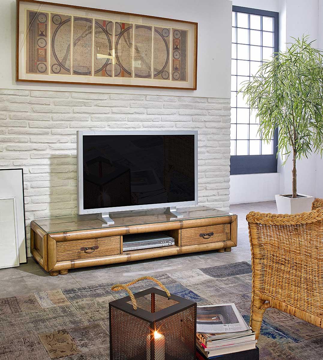 Meuble Tv Vid O Bas En Bambou Naturel Patin 6399 # Meuble Tv Haut De Gamme
