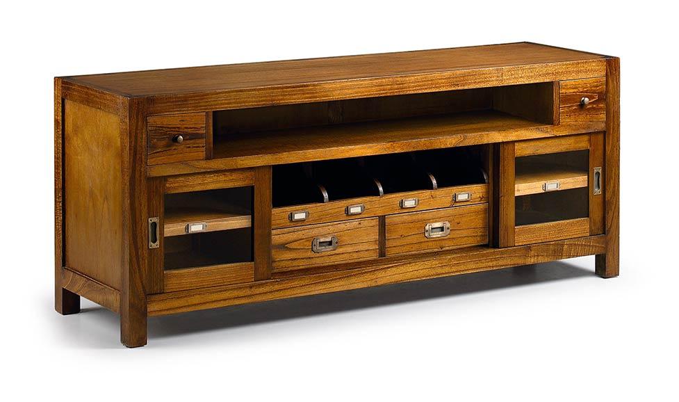 Meuble t l en bois massif mindy 4 tiroirs 2 portes 1 for Meuble coloniaux