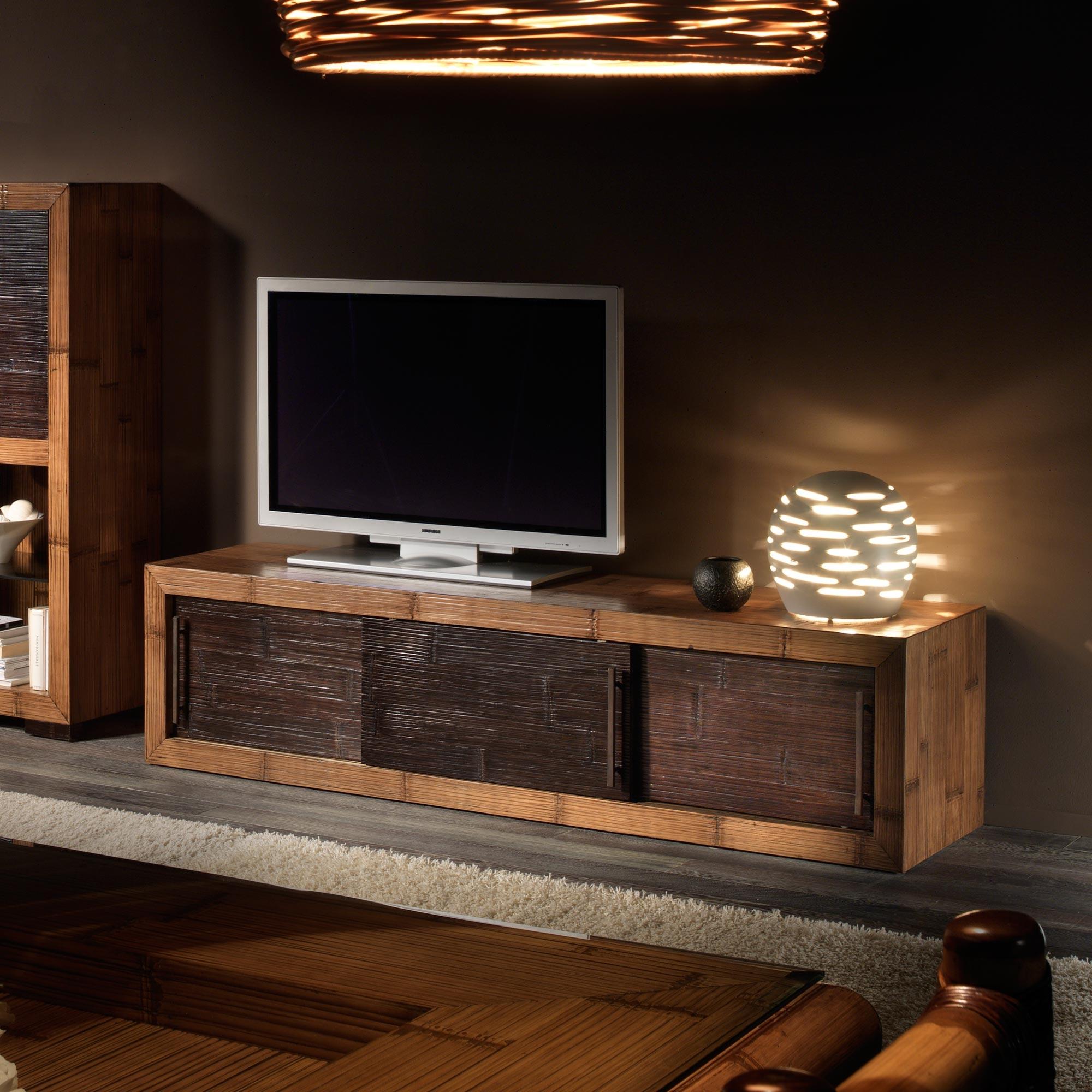 meuble cabinet long format 2 m tres en bambou d roul et bois de mindy collection indah. Black Bedroom Furniture Sets. Home Design Ideas