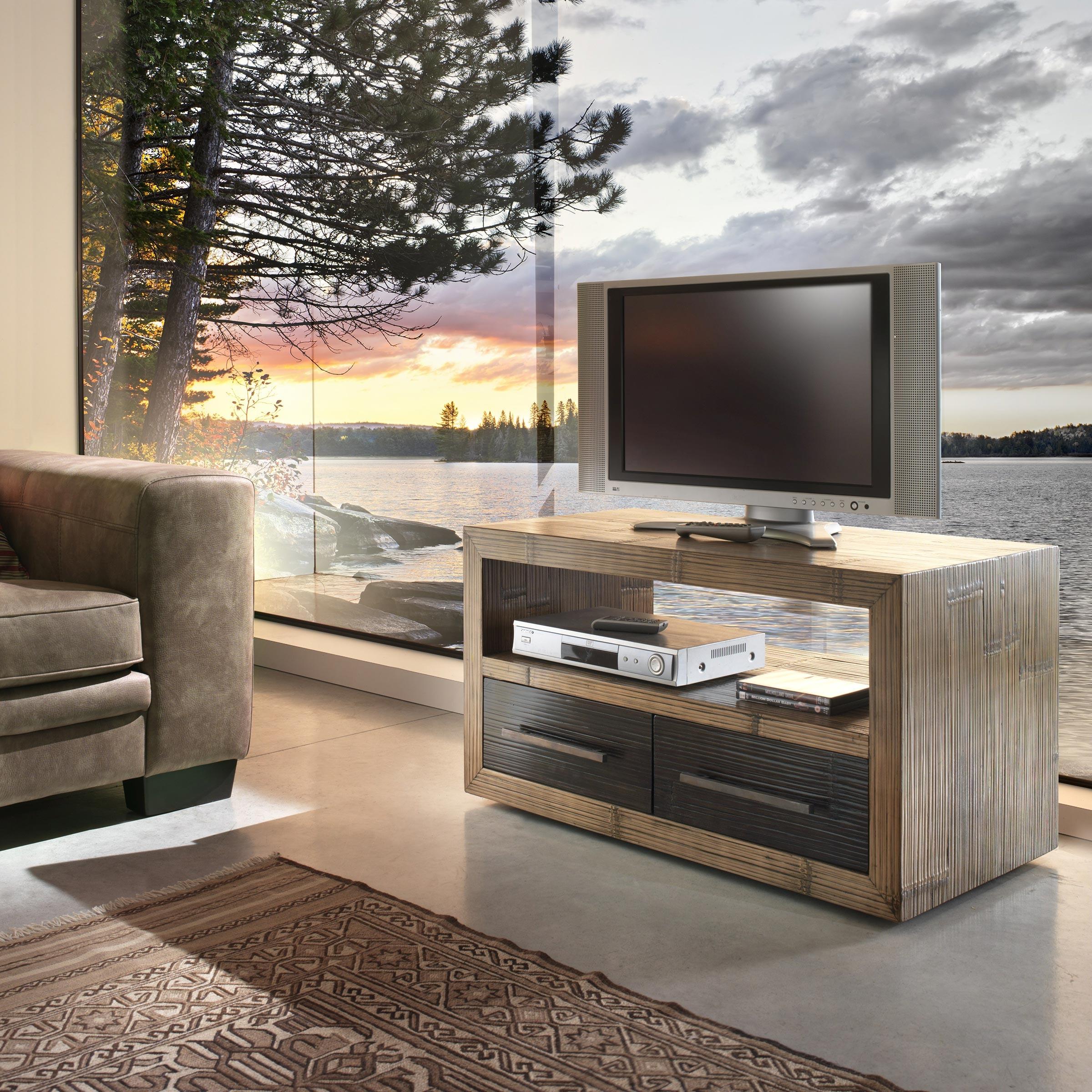 Meuble T L Vision Moderne Sur Roulettes En Bambou Et Bois De  # Meuble Tv Mindi
