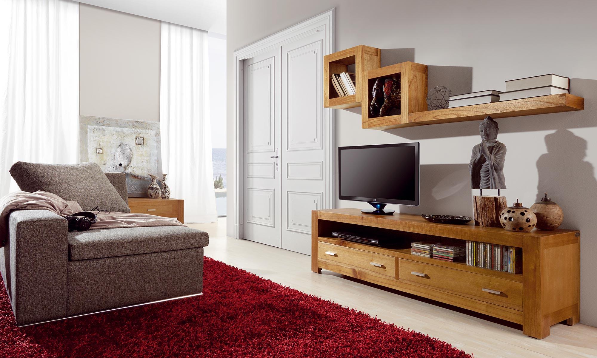 long meuble tv en bois naturel 2 tiroirs 160 40 45 collection briani. Black Bedroom Furniture Sets. Home Design Ideas