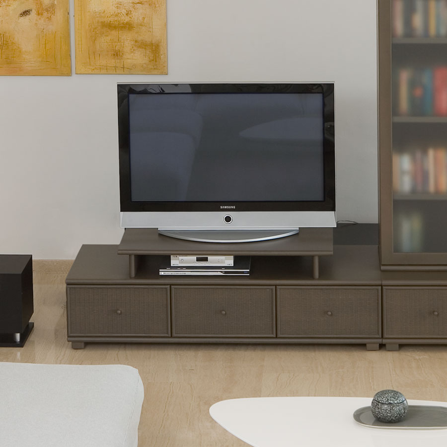 meuble t l bas 3 tiroirs modulable rotin solabe. Black Bedroom Furniture Sets. Home Design Ideas