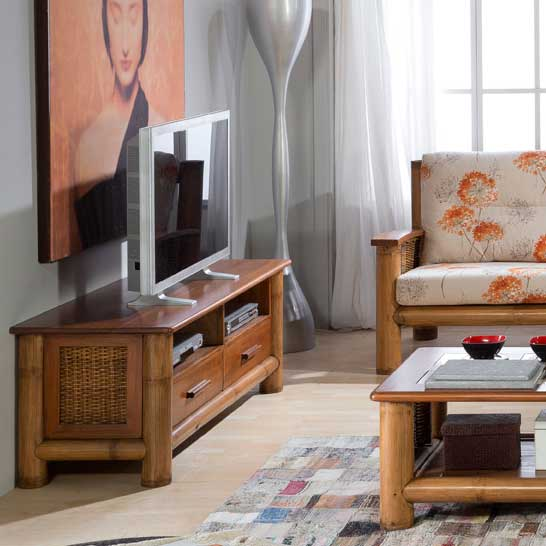 meuble tv vid o en bambou tropicana miel 6174. Black Bedroom Furniture Sets. Home Design Ideas
