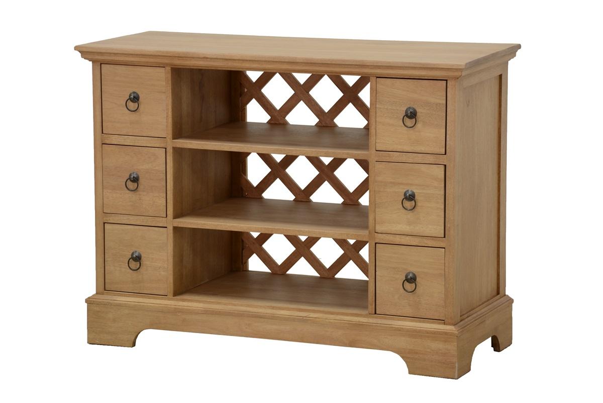 Meuble tv bois 6 tiroirs 3 niches - Meuble personnalisable ...