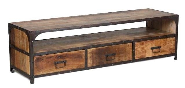 meuble tv vid o industriel en fer forg et palissandre 4950. Black Bedroom Furniture Sets. Home Design Ideas