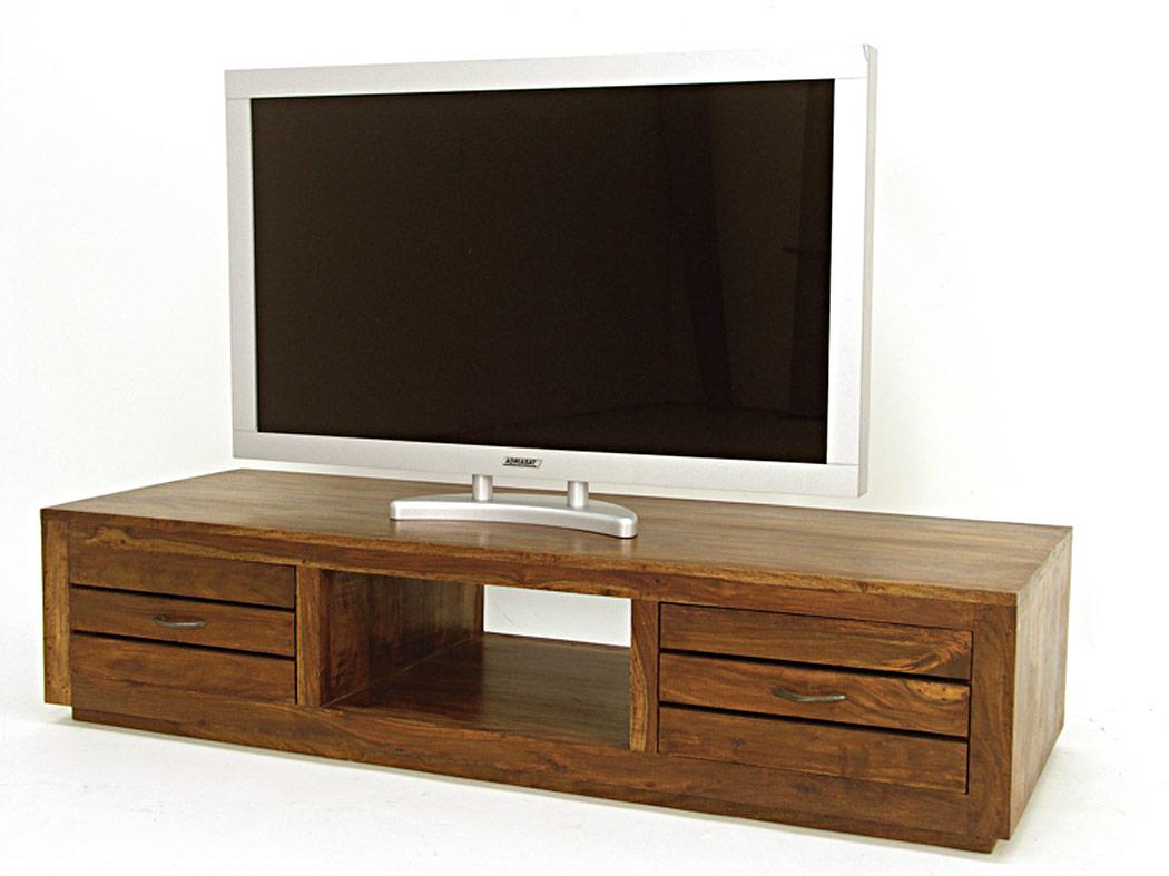 meuble t l bas en bois de palissandre indien 2 tiroirs. Black Bedroom Furniture Sets. Home Design Ideas