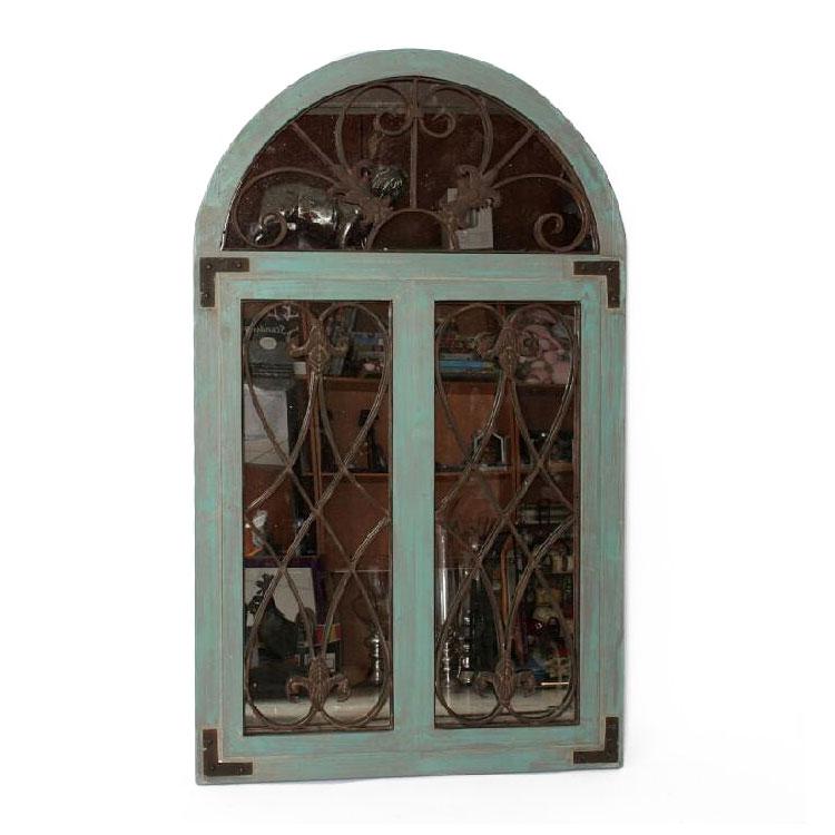 Miroir Fenêtre Bois Fer Forgé 5071