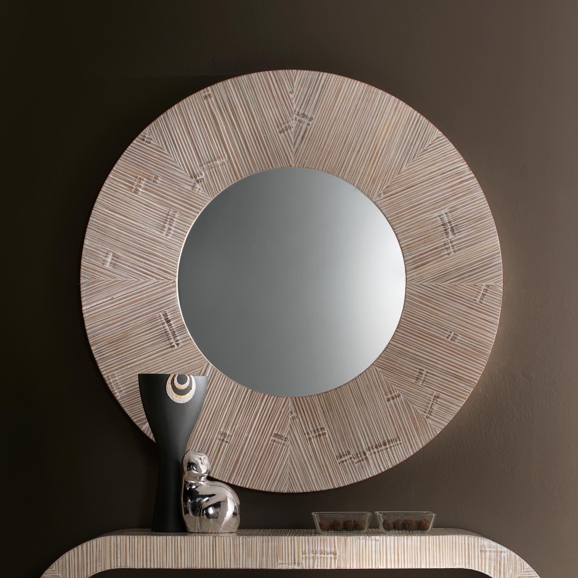 Miroir rond bambou c rus for Miroir rond bambou