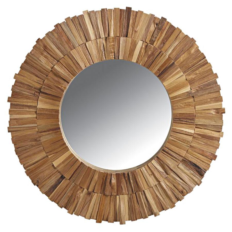 Grand miroir rond teck recycl 6248 for Miroir rond grand