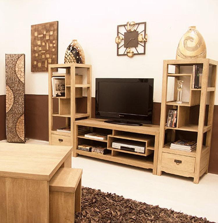 Meuble tag re tv vid o bois arster 5398 for Etagere meuble tele