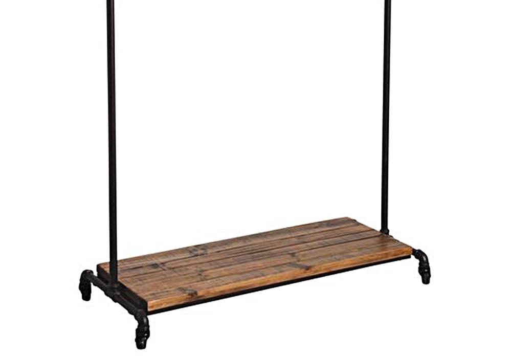 portant porte manteaux m tal et bois sur roulettes. Black Bedroom Furniture Sets. Home Design Ideas