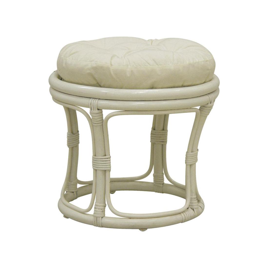pouf bois rotin blanc laqu avec coussin cru 5475. Black Bedroom Furniture Sets. Home Design Ideas