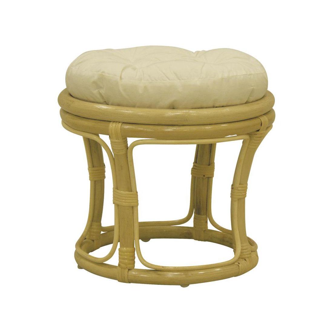 pouf bois rotin naturel avec coussin cru 5474. Black Bedroom Furniture Sets. Home Design Ideas