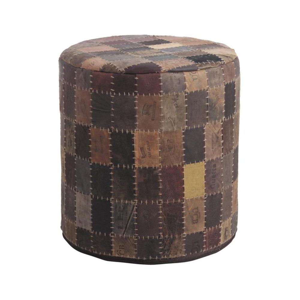 pouf tiquette en cuir 5994. Black Bedroom Furniture Sets. Home Design Ideas