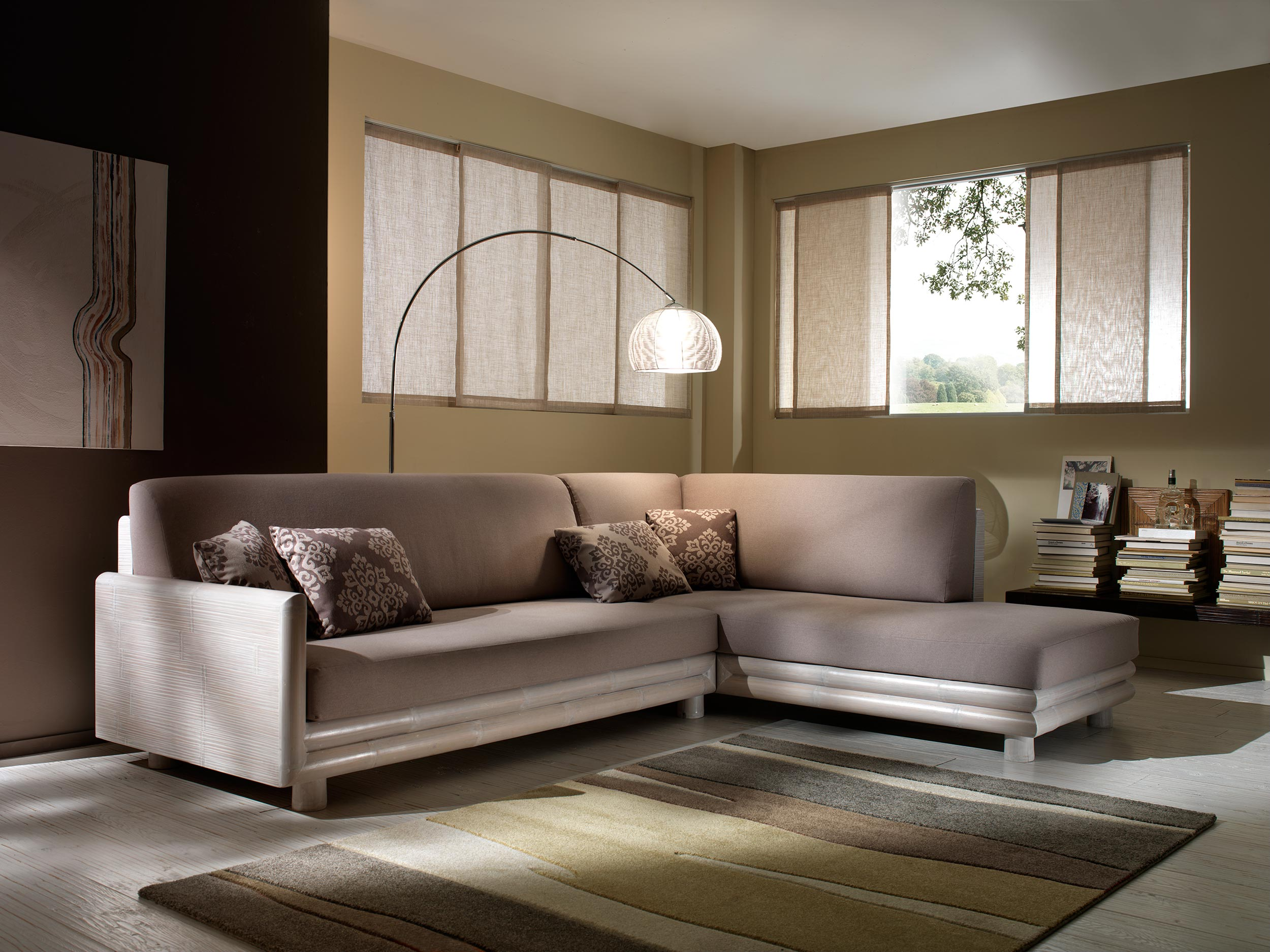 salon d 39 angle bambou finition c rus blanc zen. Black Bedroom Furniture Sets. Home Design Ideas