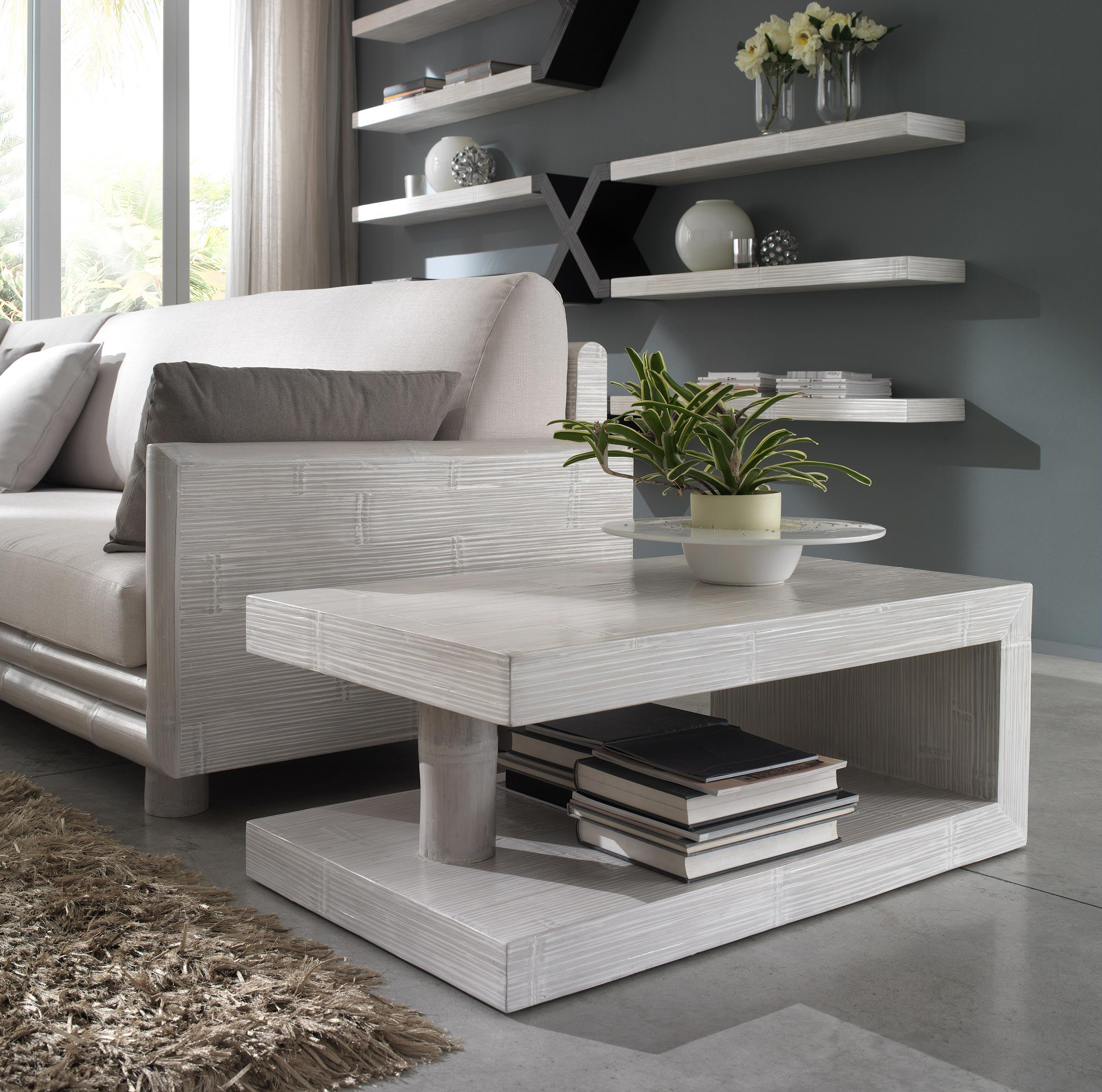 Salon d\'angle bambou, finition cérusé blanc, Zen