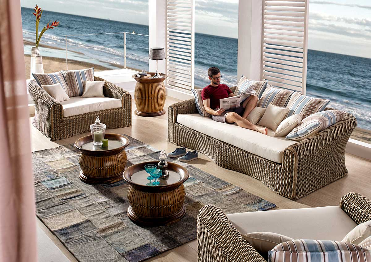 fauteuil de salon haut de gamme en tressage de rotin patin antique collection malaggar. Black Bedroom Furniture Sets. Home Design Ideas