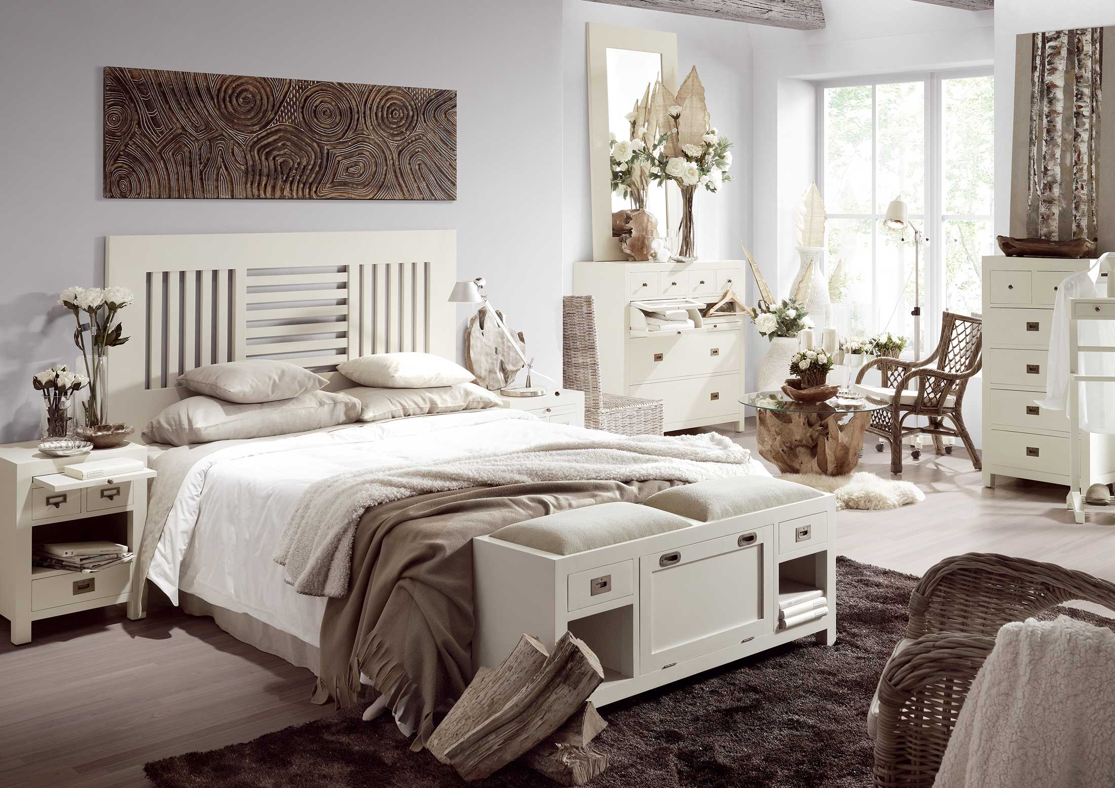 t te de lit barreaux bois blanc collection abume. Black Bedroom Furniture Sets. Home Design Ideas