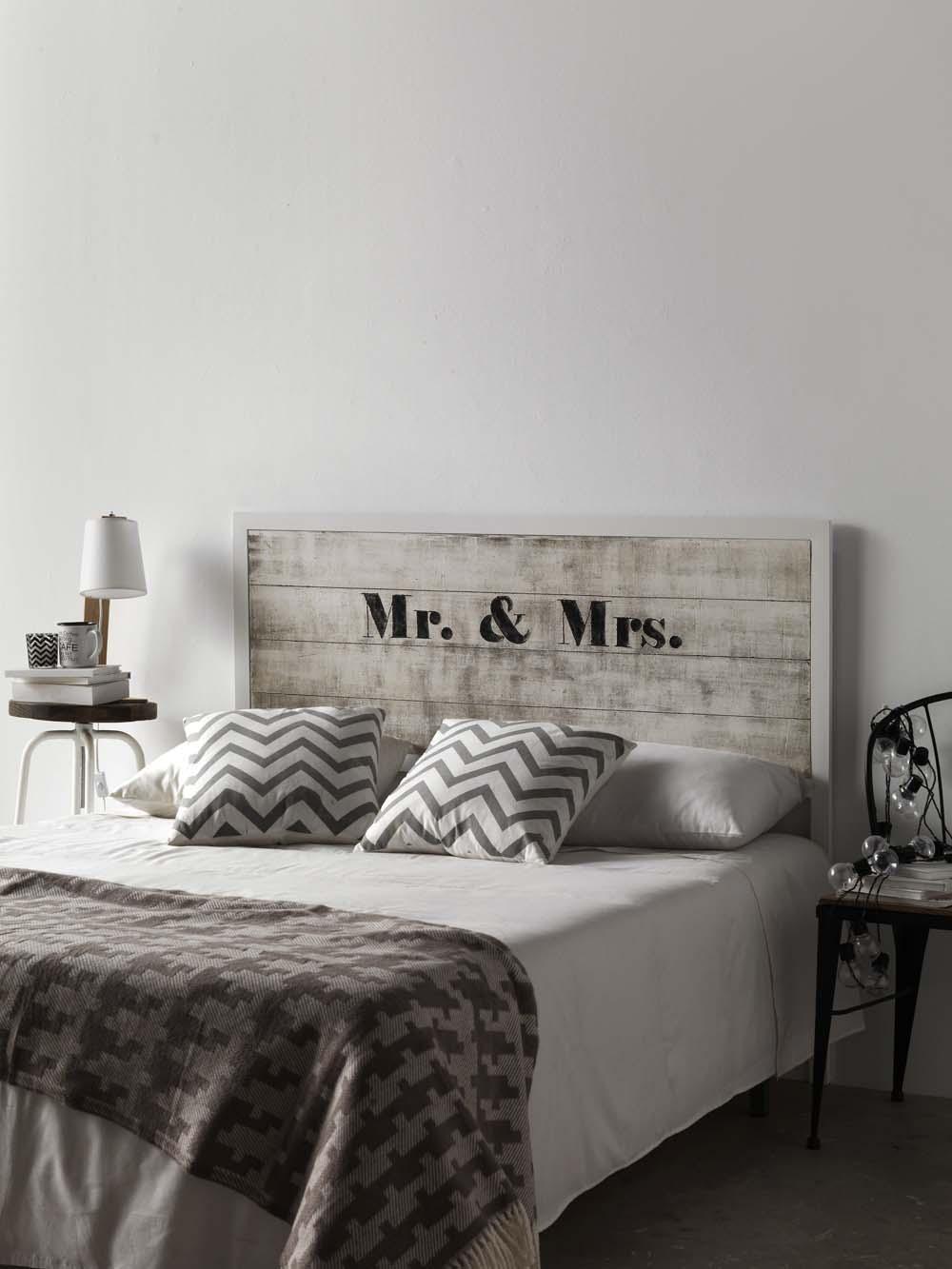 Tête de lit bois et métal serie Sérigraphie modèle Monsieur  - Tete De Lit En Bois Blanc