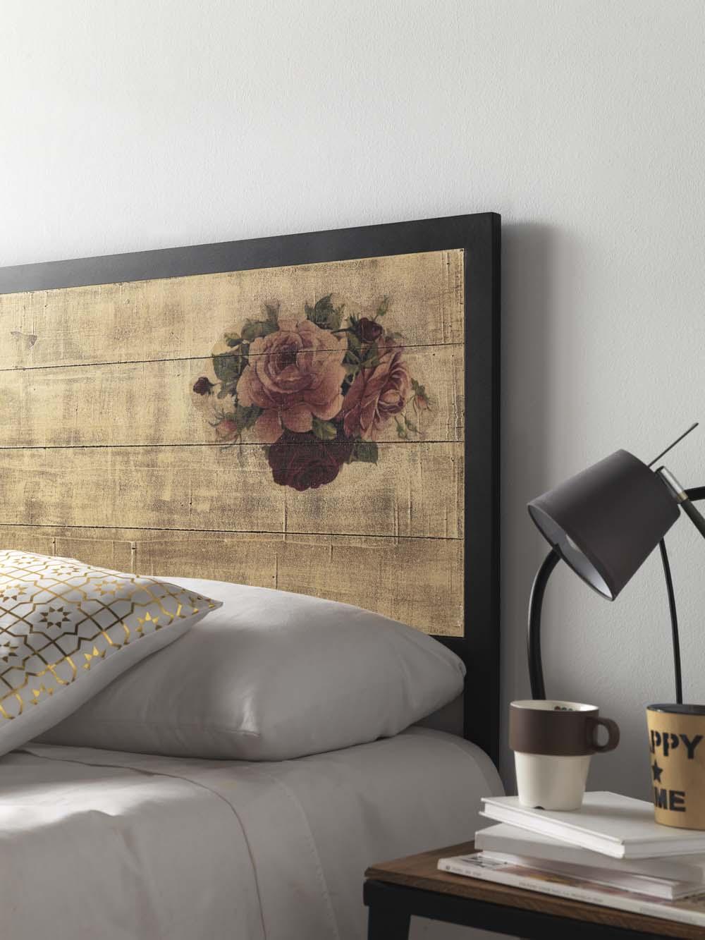 t te de lit bois et m tal serie s rigraphie mod le roses. Black Bedroom Furniture Sets. Home Design Ideas
