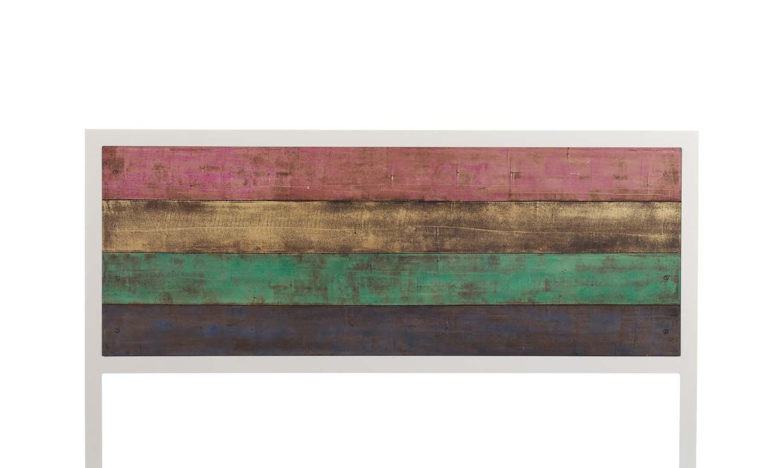 t te de lit bois et m tal serie s rigraphie multicolore. Black Bedroom Furniture Sets. Home Design Ideas