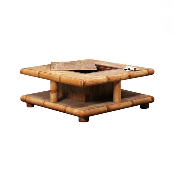 Table basse bambou naturel coffre bar aspect pratique et vidente l gance - Table basse coffre bois ...