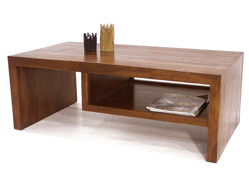 Table basse bois massif exotique - Table basse rangement bouteilles ...