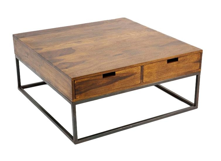 Crisy, table basse industrielle, 4 tiroirs
